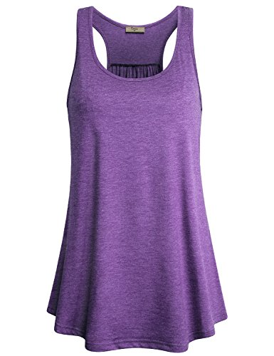 Cestyle Gym Shirts For Women Loose Girls Sports Racerback Dry Fit Knit Tank Tops Summer Cute Sleeveless Flattering Tunics Casual Basic Zulily Clothes Purple Medium