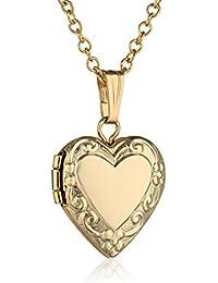 "Children's 14k Yellow Gold-Filled Heart Locket Pendant Necklace, 15"""