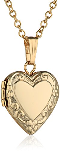 Baby Heart Locket (Children's 14k Yellow Gold-Filled Heart Locket Pendant Necklace, 15