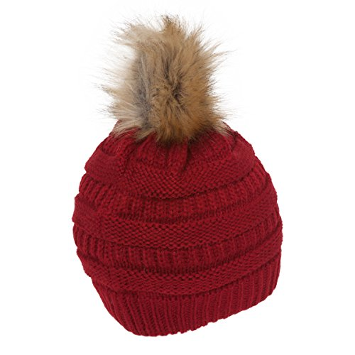 Gravity Threads CC Cable Knit Faux Fur Pom Pom Beanie Hat, Red