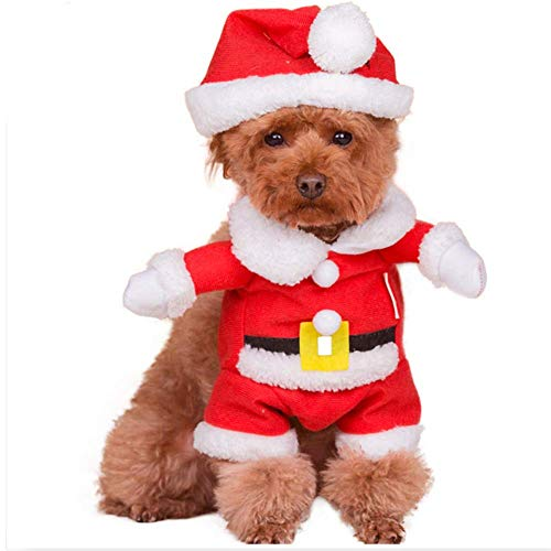 ANIAC Pet Christmas Costumes Suit with Cap Santa Claus Hoodies Xmas for Cats and Dogs Red (Medium)