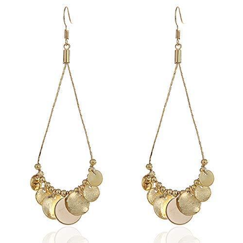 Golden/Silver Teardrop chandelier Drop Earrings for Women Girls - SHUHONEY COLLECTION - Hanging Disc Earrings