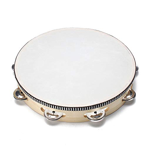 Musfunny Hand Held 10 inch Tambourine Drum Bell Birch Metal Jingles Percussion Gift Musical Educational Toy Instrument for KTV Party Kids Games (10 inch)