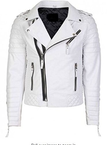 OutFit11 Men's Lambskin Leather Jacket White Large