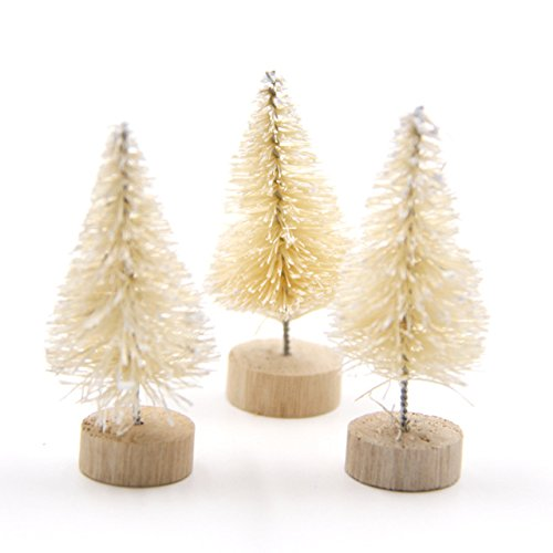 Mini Christmas Tree - 15PCS DIY Christmas Tree 3 Colors Small Pine Tree Mini Trees Placed In The Desktop Home Decor Christmas Decoration Kids Gifts - Christmas Tree - Christmas Gift(White)