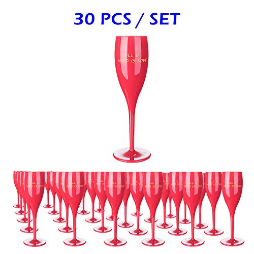 30Pcs Red Plastic Classicware Glasses |Wine Cups| Champagne Wedding Parties Toasting Flutes-Durable and Multipurpose DISPOSABLE/REUSABLE Cocktail Cups. Ideal for All PARTIES&EVENTS(AVAILABLE IN CLEAR) ()