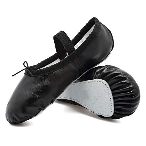 CIOR Girls Leather Ballet Slipper/Ballet Shoes/Yoga Dance Shoe(Toddler/Little/Big Kid/Women),DNDTWXYP,Black,25