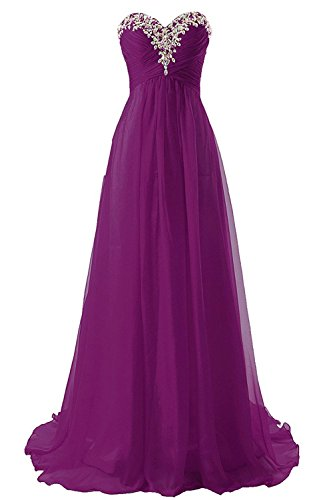 JAEDEN Prom Dress Bridesmaid Dresses Long Chiffon Formal Evening Gown A line Orchid US14 ()