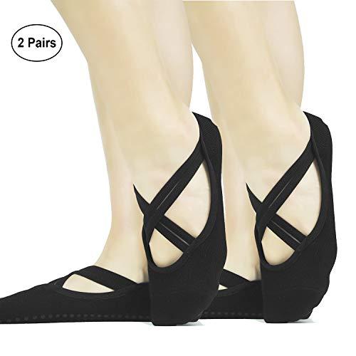 ELUTONG Ballet Barre Yoga Socks with Grippers 2 Pack Non Slip Skid Pilates Dance Bikram Socks with Cover Strap for Women