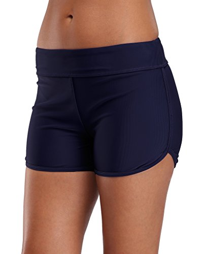 Sociala Womens Swimming Bottoms Bikini Briefs Boyleg Tankini Swim Shorts M Navy ()