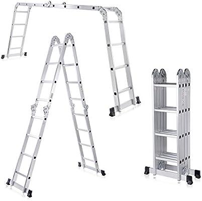 MAXCRAFT Escalera Multifunción Multi-propósito Escalera Ajustable Plegable Aluminio Carga 150 kg Conforme EN-131 Longitud 4,43 m: Amazon.es: Bricolaje y herramientas