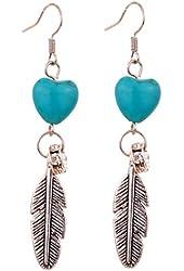 Yazilind Leaf Heart Turquoise Crystal Drop Dangle Earrings For Women Gift Idea
