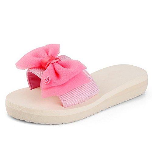 Dahanyi Portable Women's Sweet Bowknot Anti Skid Elastic Belt Beach Sandals Comfy Slide Flat Pink 7 B(M) US