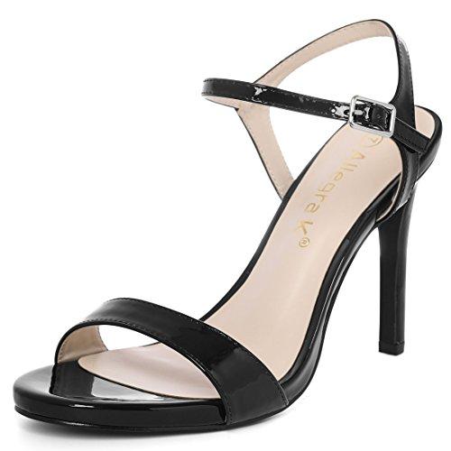 Allegra K Donna Open Toe Tacco A Spillo Sandalo Cinturino Alla Caviglia Nero