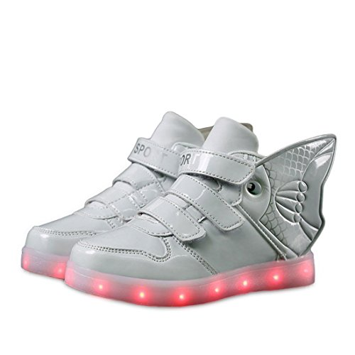 Platform Shoes With Goldfish (The new foreign trade USB charging lights shoe shoes colorful goldfish shoes White 11 M US Little Kid)
