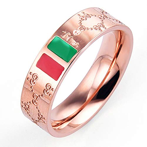 Green Enamel Rose - Fly.Dream Fashion Luxury Shine Celebrity Ring Classic Red and Green Bar Titanium Steel Ring (Rose Gold, 7)