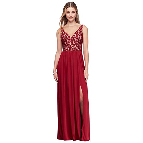 c563d127872 Home Bride Dresses David s Bridal Illusion V-Neck Lace and Mesh Bridesmaid  Dress Style W11104