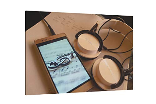 (Silver Smartphone and Philips Headphones - Canvas Wall Art Gallery Wrapped 12