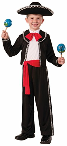 Mariachi Child Halloween Costume Boys Spanish Mexican Salsa Dancer Black Red
