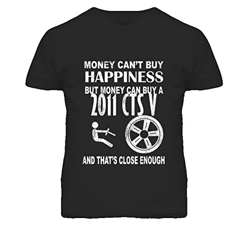 Money Cant Buy Happiness 2011 Cadillac CTS V Dark Distressed T Shirt XL Black