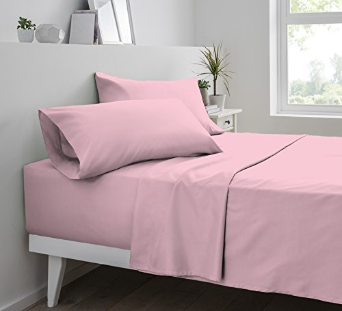 Double Brushed Microfiber Solid Bed Sheet Set By Pieridae - Hypoallergenic, Fade and Wrinkle Resistant - 4 Pc Sheet Set - Pink, Cal King (Sage Pink 4 Piece Crib)