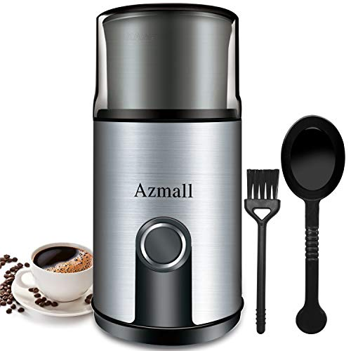 Coffee Grinder Electric – Azmall Coffee Bean Spice Grinder with Stainless Steel Blade, 3oz/85g Large Capacity, 200W Powerful Motor, Removable Grinding Cup, also for Pepper, Herbs, Nuts, Seeds, Grains