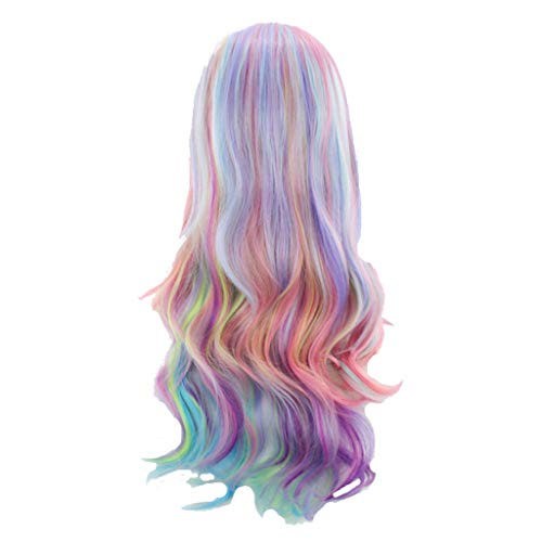FINME Long Curly Multi-Color Charming Full Wigs for Cosplay Girls Party Or Daily Use,Ship from USA (Multicolor)]()