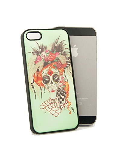 Hippie Face Tattoo Design iPhone 5 / 5 S With Crystal Clear Doming Rigid Plastic Snap On Black Case Item # (Hippie Tattoo Designs)
