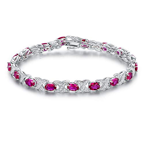 Barzel Gold, White Gold Plated or Rose Gold Plated Created-Gemstones Tennis Bracelet (Rhodium-Plated-Brass, Created ()