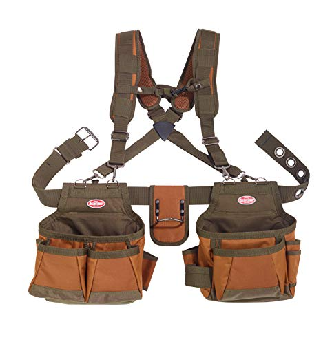 Bucket Boss Airlift 2 Bag Tool Belt with Suspenders in Brown