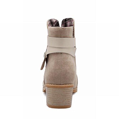 Carolbar Mujeres Snaps Fashion Comfort Casual Simple Tacón Medio Botas Cortas Beige