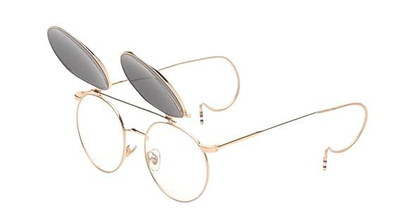 JYR Unisex Fashion Retro Tide Flip Up Double Layers Round Sunglasses - Golden Frame / GreyLens DLJs7kJ