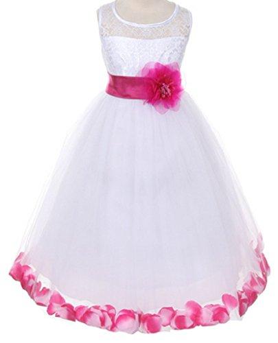 Big Girls' Adorable Lace Flower Petals Sash Flowers Girls Dresses Fuchsia Size 10