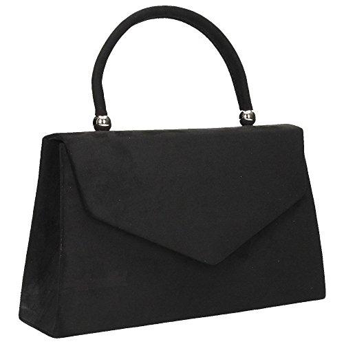 party Bag Evening Clutch Bag velvet Womens 1 Clutch Shoulder Folds Ladies Prom Wocharm Black Suede Bridal Handbag TxBP6gnqw