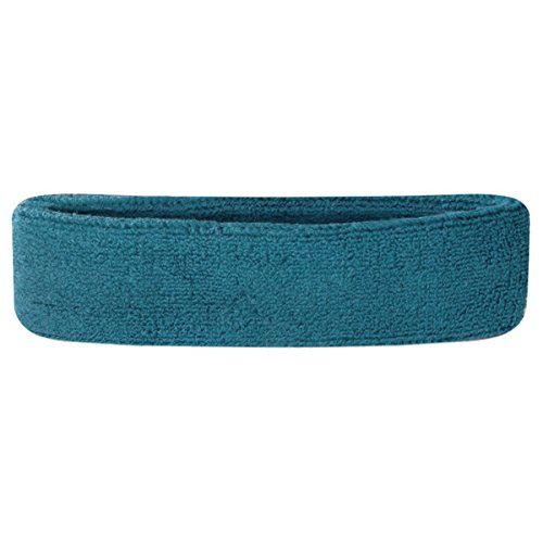 Suddora Head Sweatbands - Athletic Cotton Terry Cloth Headbands for Sports (Teal)