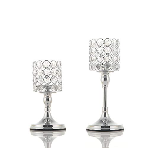 VINCIGANT Silver Cylinder Ball Crystal Candle Holder Set of 2 for Wedding Table Centerpieces/Anniversary Celebration Modern Home Decor,8 and 10 Inches Tall