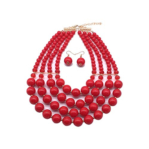 Halawly 5 Colors Statement Beaded Layered Strands Resin Big Simulated Pearls Multi Strand 4 Layer Collar Evening Necklace (Red) ()