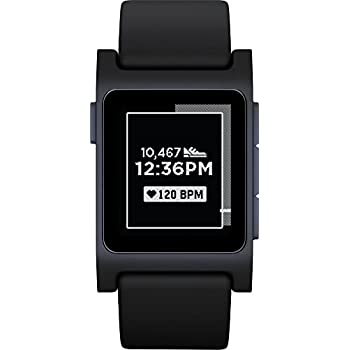Pebble 2 + Heart Rate Smart Watch - Black/Black (Renewed)