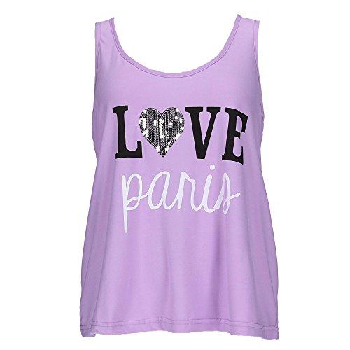 em & alfie Women's Plus Size Tank and Short Pajama Set, 2X, Purple by em & alfie (Image #2)