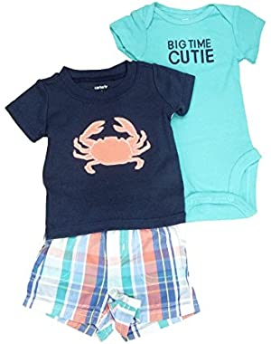 Carters Infant Boy 3 Piece Blue Big Time Cutie Crab Shirt Shorts Creeper Set