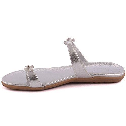Unze Zapato plano de los deslizadores de la nueva de las mujeres de las señoras AFIRMATIVO del partido de tarde de la tarde abierta del zapato tamaño BRITÁNICO 3-8 Plateado