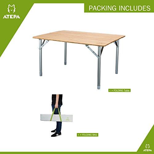 ATEPA 4-Fold Bambu Heavy Duty Adjustable Height Aluminum Frame Folding Bamboo Table with Carry Bag by ATEPA (Image #4)