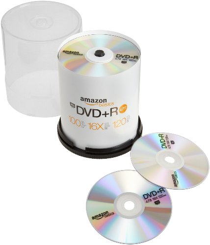 AmazonBasics 4.7 GB 16x DVD+R - 100 Pack Spindle