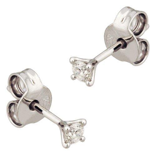 Orleo - REF6376BB : Boucles d'oreille Femme Or 18K blanc et Diamant - 0.06 carat