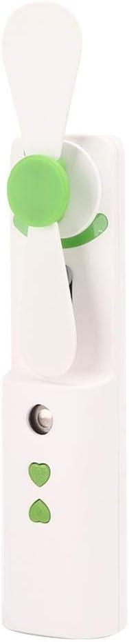 Pulverizador de mano USB y mini ventilador de mano/instrumento de belleza portátil para el cuidado de la piel para hidratar la cara, cuidado de la piel, adecuado para el uso en verano seco(Verde)