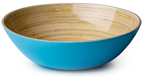 Casa Bellante - Bamboo Serving Bowl, Food-safe Finish, Medium. Island Paradise Blue. 10 x 3in. ()