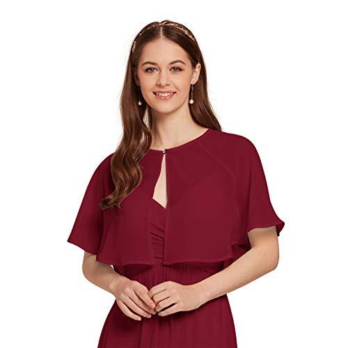 AW Women's Chiffon Cardigan Shrug Cover Up Wedding Cape Wrap Shawl Bolero Jacket for Bride, Jester Red, XL ()