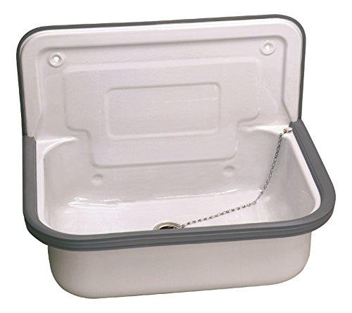 Stahl Ausgussbecken | Glasiert | 50 cm | Waschbecken | Keller | Waschküche | Garage   Garten