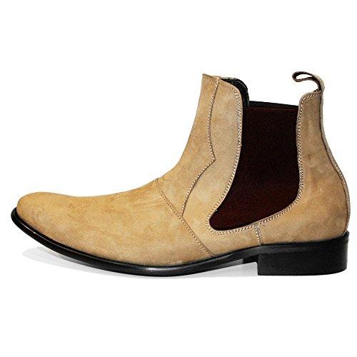 d049e2fcf909cb PeppeShoes Modello Lethero - Handgemachtes Italienisch Leder Herren Braun  Stiefeletten Chelsea Stiefel - Rindsleder Wildleder ...