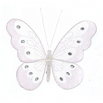 /Tama/ño Mediano Butterfies 14/cm Homestreet Mariposa con Detalles de Diamantes y Clip en la Parte Posterior/ Nailon Lilac Medium